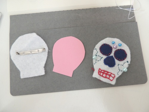sugar skull brooch pieces