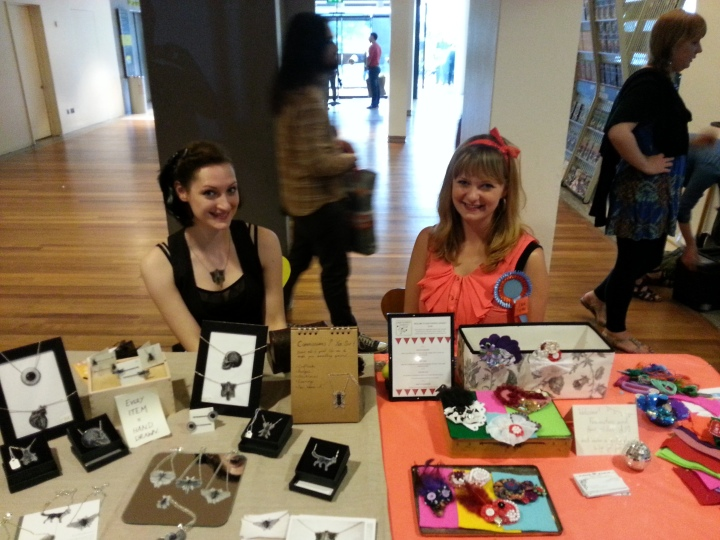 Our craft stall!  Monochrome vs Neon