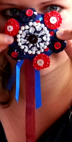 A very village fair rosette take on a fascinator