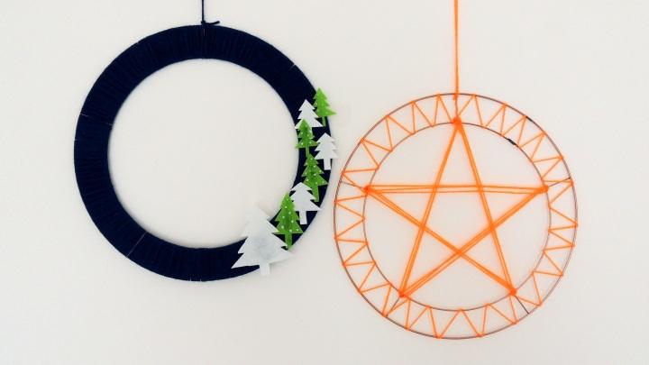 2 simple wool based wreaths
