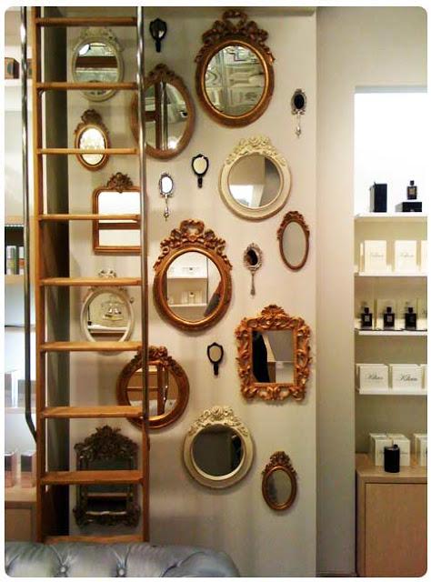 mirror gallery hang Lovinglivingsmall.blogspot.ca