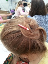 My crafting buddy for the day had the cutest pencil hair clip!
