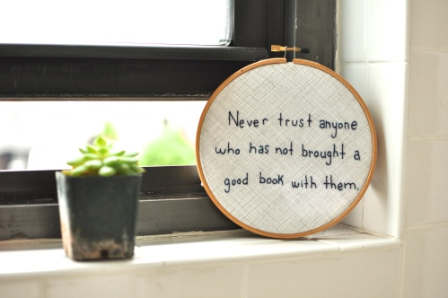 Embroidery hoop Art from QuirkBooks.com