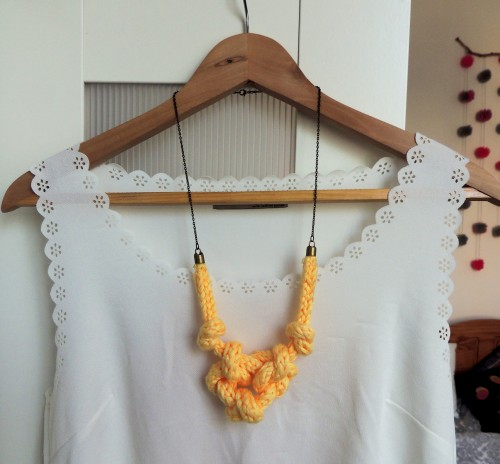 french knitted knotted necklace Crafternoon Cabaret Club
