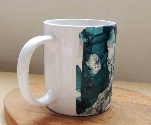 finished nail polish marbled mug