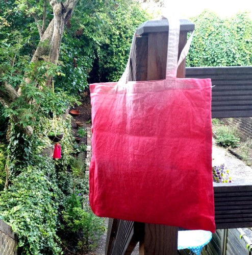 dip dye red pink tote bag