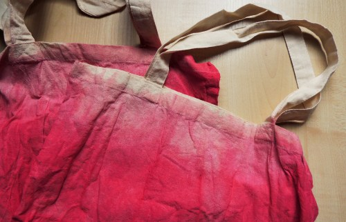 dip dye tote bag raspberry red