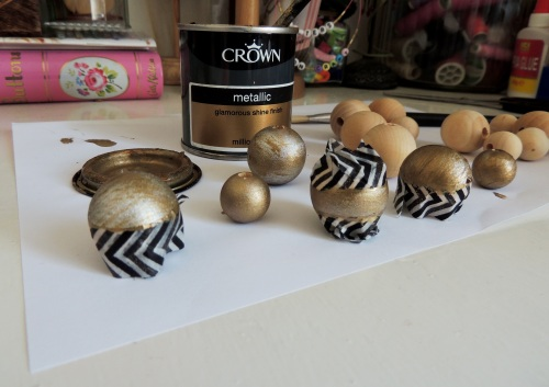 painting wooden beads