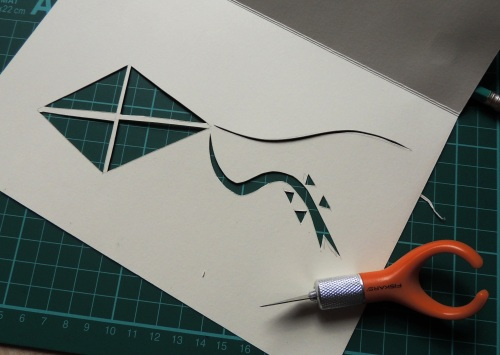 papercut card kite design