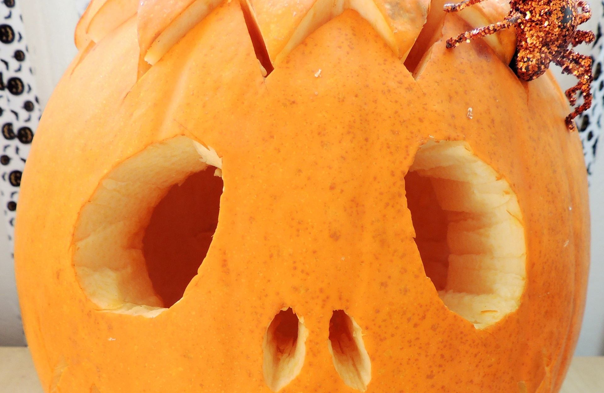 DIY carved pumpkin eyes