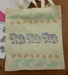 block printed bag marching elephants