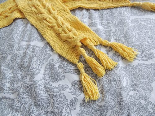cable knit scarf with tassels crafternoon cabaret club