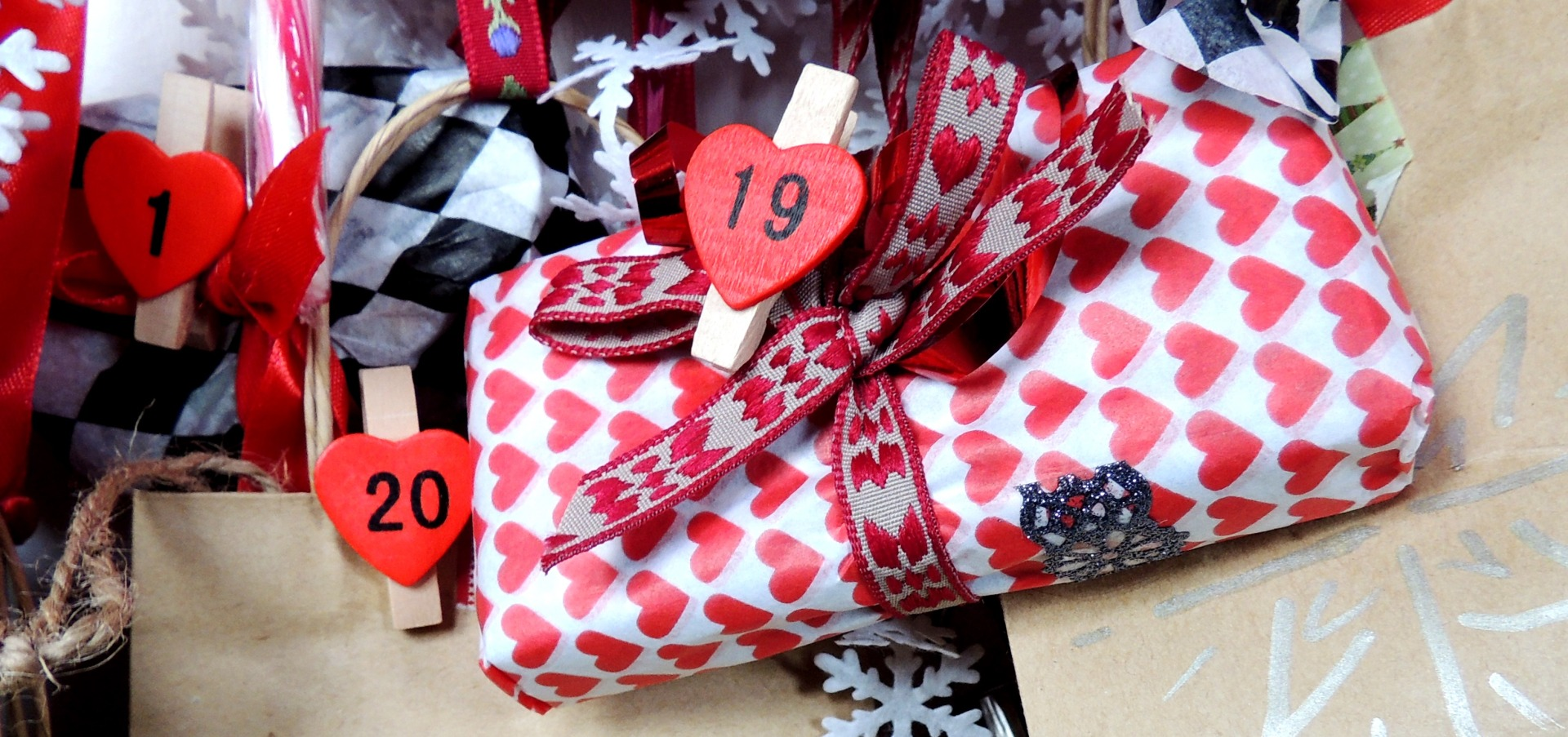 wrapped presents with numbered pegs