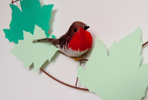 paper leaf wreath and robin