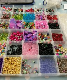 box of bright coloured beads
