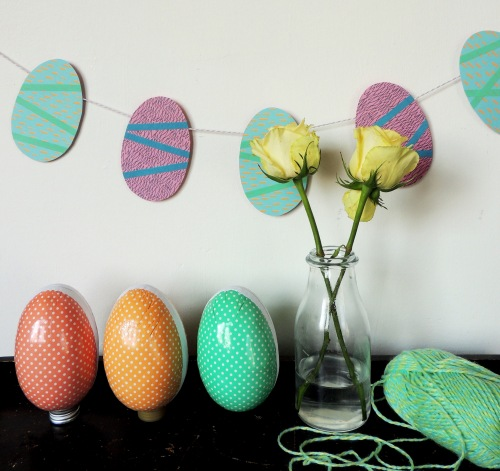 paper easter egg garland styled Crafternoon Cabaret Club